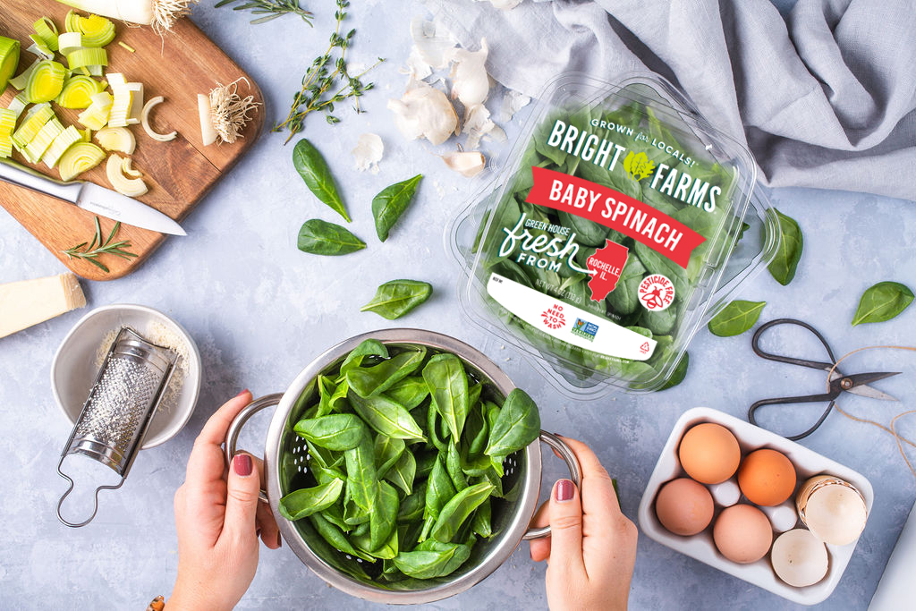 BrightFarms Baby Spinach Salad on Counter