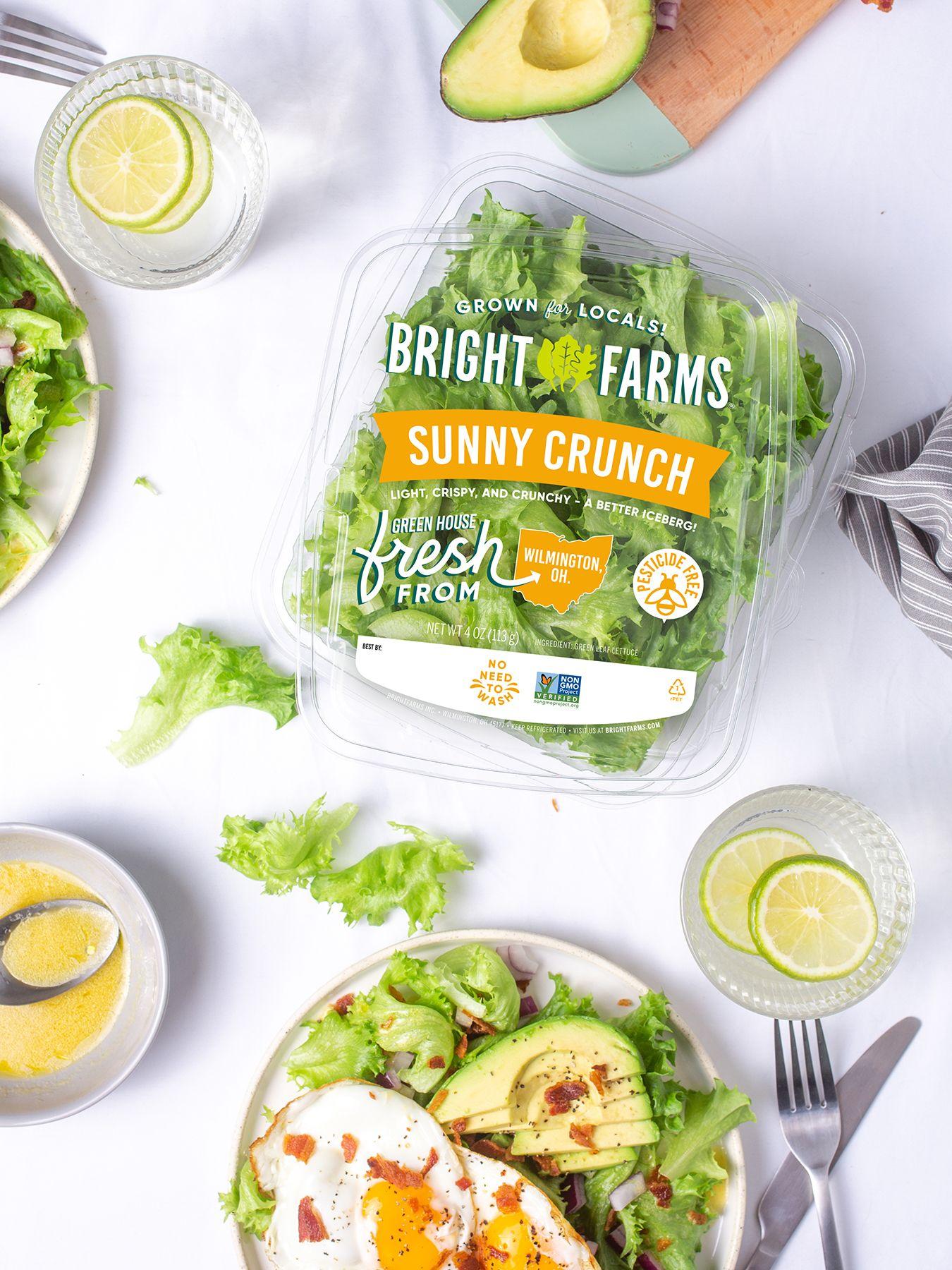 BrightFarms Sunny Crunch on Table | Crispy Green Leaf | Sunny Side Up Salad | A Better Iceberg